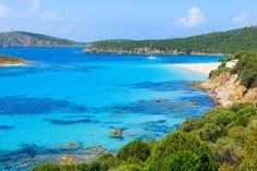 Beautiful bay with sandy Teulada lagoon beach, Sardinia island, Italy